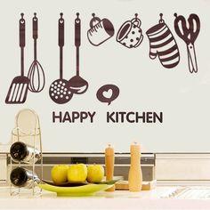 Nova removível feliz espátula utensílios de cozinha cozinha art adesivos vinil removível decalque decoração Paster em Papéis de parede de Casa & jardim no AliExpress.com   Alibaba Group
