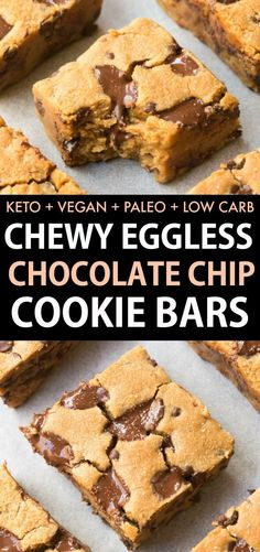 Healthy Chocolate Chip Cookie Bars made with EGGS and NO sugar but youd never tell! The BEST keto and low carb dessert made with almond flour its vegan and paleo too- Soft chewy and gooey cookie bars! - Chocolate Chip - Ideas of Chocolate Chip Healthy Chocolate Desserts, Desserts Keto, Desserts Sains, Healthy Chocolate Chip Cookies, Keto Chocolate Chips, Healthy Cookies, Paleo Dessert, Healthy Sweets, Healthy Dessert Recipes