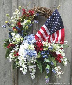 American Flag Garden Splendor Wreath  ~A New England Wreath Company Designer Original~