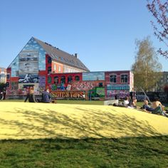 Hanging out at BaNanna Park in Copenhagen (colorful, large, street art, graffiti, urban art, public art, wall art, mural, Nørrebro, amazing) http://www.visitcopenhagen.com/