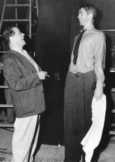 "Frank Capra and Jimmy Stewart on the set of ""It's a Wonderful Life"" (1946)"