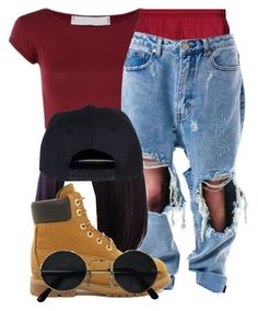 """~90's Baby~"" by queenc98 ❤ liked on Polyvore featuring Mode, NIKE, UNIF, Wigs2You und Timberland"