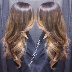 Asian hair caramel tones balayage sunkissed highlights