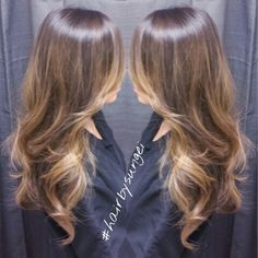 Asian hair caramel tones balayage sunkissed highlights