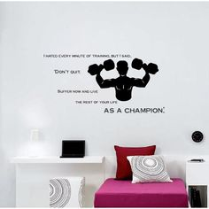 Wall Vinyl Art Home Interior Sticker Quote Phrase About Sport Champion