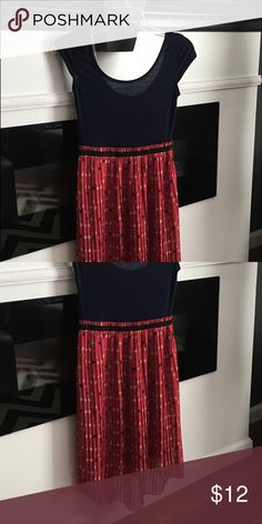 🆕High / low dress with t-shirt style top NWOT navy dress with pink pleated polka dot hi low skirt Xhilaration Dresses High Low