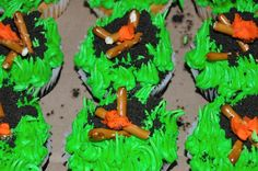 Campfire Cupcakes- Interesting idea for the Cub Scout Cake Bake