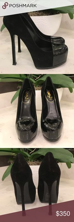 9d8616436939 YSL PLATFORM SUEDE PUMPS AUTHENTIC YSL PLATFORM PUMPS SUEDE WITH PATENT  LEATHER TOE, SIX INCH HEEL WORN ONLY ONCE. Yves Saint Laurent Shoes Heels