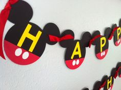 Mickey Mouse Birthday Garland, banner, cardstock, party decorations on Etsy, $30.00