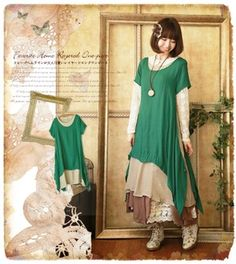 Is given Green that layered long one piece * where a one piece natural drape hemline is lovely mature is bright; and a natural girl. . .*