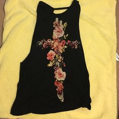 Flowered cross black top Flowered cross black top open back with low cut holes under the arm Olivaceous Tops Blouses