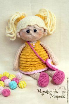 Купить Кукла Пампошка в желтом - желтый, кукла, куколка, вязаная игрушка, игрушка крючком, для девочки ♡