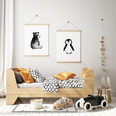 Moderni skandinaavinen lastenhuone Animals Black And White, Black And White Prints, Nursery Prints, Nursery Decor, Octopus Print, Animal Nursery, Nursery Inspiration, Kids Prints, Toddler Bed