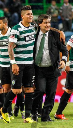 President BRUNO DE CARVALHO with Marcos Rojo (argentinian defender), after another victory