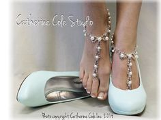 PARISIAN pearls rhinestones elite Barefoot by CatherineColeStudio,  beach wedding wedding shoes bridal accessories outdoor wedding shoe jewelry foot jewelry