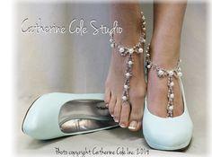 PARISIAN pearls rhinestones elite Barefoot by CatherineColeStudio, $22.50 beach wedding wedding shoes bridal accessories outdoor wedding shoe jewelry foot jewelry