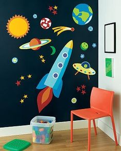 Outer Space Murals Rocket Ship Out of this World Olive Kids Wall Stickers Decals...