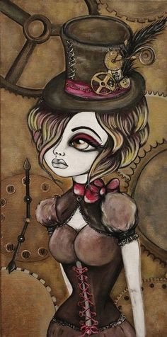 I need this for the profile, I really like that the person that drew this did what I do with my girly girls by only drawing one eye. I've wanted to try drawing this style from a different profile, I usually draw them straight on. Steam punk by Lizzy Falcon