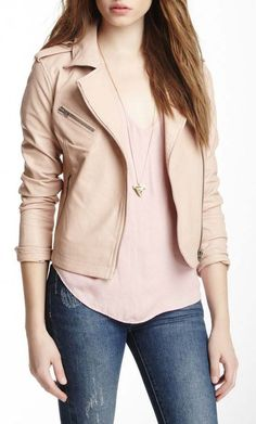 Bagatelle Cropped Leather Moto Jacket...love the color combo <3