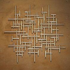 """Abstract Metal Sculpture Wall Art Silver Tubing """"Handmade"""" Modern US Artist"""