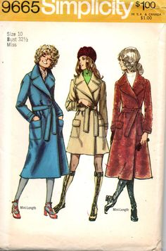Simplicity 9665 1970s Misses Trench Spy Wrap Mini Midi COAT  Pattern womens vintage sewing pattern by mbchills