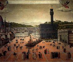 Ejecución de Girolamo Savonarola en la piazza della Signoria, 1498. Lorenzo Roselli.