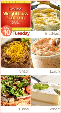 Day 10 Meal Plan Recipes – Weight Loss Challenge for Weight Watchers - Farmer's Breakfast Casserole, Pintos and Cheese, Roasted Red Pepper Dip, Pita Pizza, and Tasty Frozen Pie