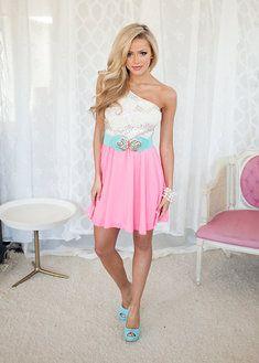 Exquisite One Shoulder Dress Neon Pink