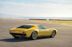 1971 LAMBORGHINI MIURA SV Crafted by legendary design house, Bertone, the Miura remains one of the most beautiful cars ever made. Lamborghini Miura, Maserati, Bugatti, Luxury Sports Cars, Yellow Car, Car Photography, Car Pictures, Car Pics, Vintage Cars