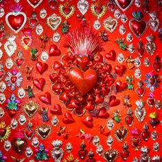 Mexican Tin Art Corazon, hearts
