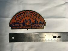Vintage Farmers Insurance License Plate Topper Enameled Metal Sign