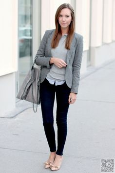 19. The #Cotton Blazer and Grey Hobo Bag Are a Nice #Touch - How to do Laidback #Style at the Office ... → #Fashion #Office