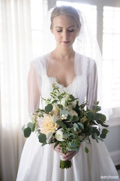 Ivory and green bridal bouquet by life in bloom