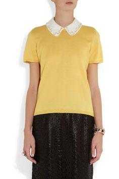Miu Miu Crystal-embellished cotton sweater NET-A-PORTER.COM