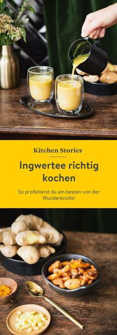 Wie du den besten Ingwertee kochst und warum Ingwer so gesund ist Due to its ingredients, ginger with its versatile effects is often used for prevention and treatment in one as well as of the immune system. Detox Drinks, Healthy Drinks, Healthy Detox, Drink Tumblr, Smoothie Recipes, Smoothies, Diet Recipes, Ginger Water, Coffee Recipes