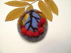 Needle felted brooch Rowanberry Wool felt by FeltAccessories