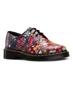 Red & Navy Floral 1461 Leather Oxford - Women