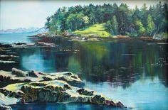Galiano Island Bay Beautiful Paintings, Island, Mountains, Artist, Nature, Travel, Block Island, Naturaleza, Artists