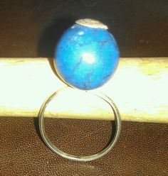 Turquoise fine silver ring made by Julie Reitenbach of AnJules
