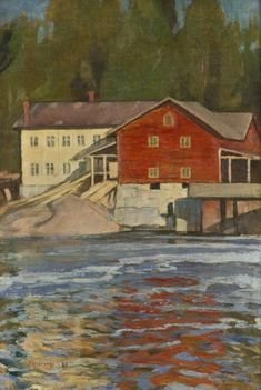 Sunset in Myllykylä - Pekka Halonen , 1899 Finnish, Oil on canvas, 39 x 27 cm. Home Landscape Art, Scandinavian Paintings, Meaningful Paintings, River Painting, Sea Art, Portraits, Source Of Inspiration, Cool Artwork, Lovers Art