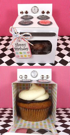 Cupcake Oven: Such unique packaging! Create these cute oven boxes, and stuff cupcakes in them.   Source: Popper and Mimi  AWWWW!!!