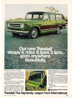 """1969 International Travelall Truck photo """"Sleeps Ad I miss our light blue one I grew up in! International Travelall, International Pickup Truck, International Harvester Truck, International Scout, Vintage Trucks, Vintage Ads, Vintage Advertisements, Vintage Stuff, Vintage Posters"""