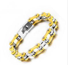 Men Fashion Heavy Titanium Steel Motorcycle Biker Bicycle Chain Yellow Bracelet