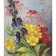 Antique Art Postcard Spring and Summer Flowers Artist Signed Mary... ($5) ❤ liked on Polyvore featuring home, home decor, wall art, spring home decor, antique postcards, spring wall art, flower home decor and post card