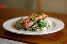 DOUGH-EYED GIRLS: Honey Seared Salmon with Coriander Noodles