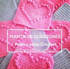 aprende a hacer una manta de corazones al crochet                                                                                                                                                      Más