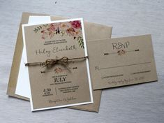 Boho Wedding Invitation Rustic Wedding by LoveofCreating on Etsy