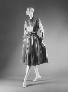 """Pactole""  House of Dior  (French, founded 1947)  Designer: Christian Dior (French, Granville 1905–1957 Montecatini) Date: fall/winter 1949–50 Culture: French Medium: silk.  Credit Line: Gift of Mrs. Byron C. Foy, 1953.  I love the pleated skirt!!!"