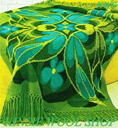 Vintage-Retro-70s-Crochet-Butterfly-Wing-Violets-Afghan-Pattern