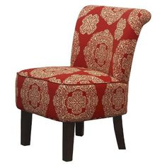 Ordinaire Threshold™ Rounded Back Chair   Red/Gold Medallion